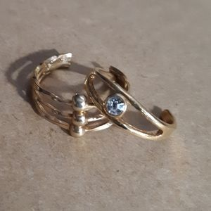 Gold Tone Toe Ring Duo